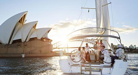 F​riends sailing in Sydney Harbour, Sydney